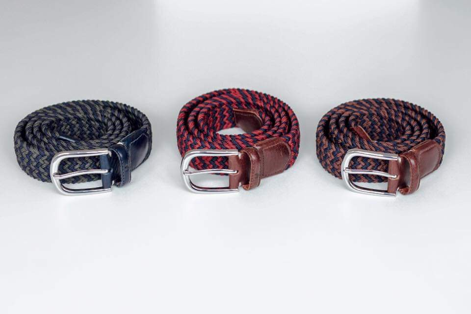 Range of Brydon Brothers Belts in 3 colour styles, featuring green and blue, red and blue and brown and blue.