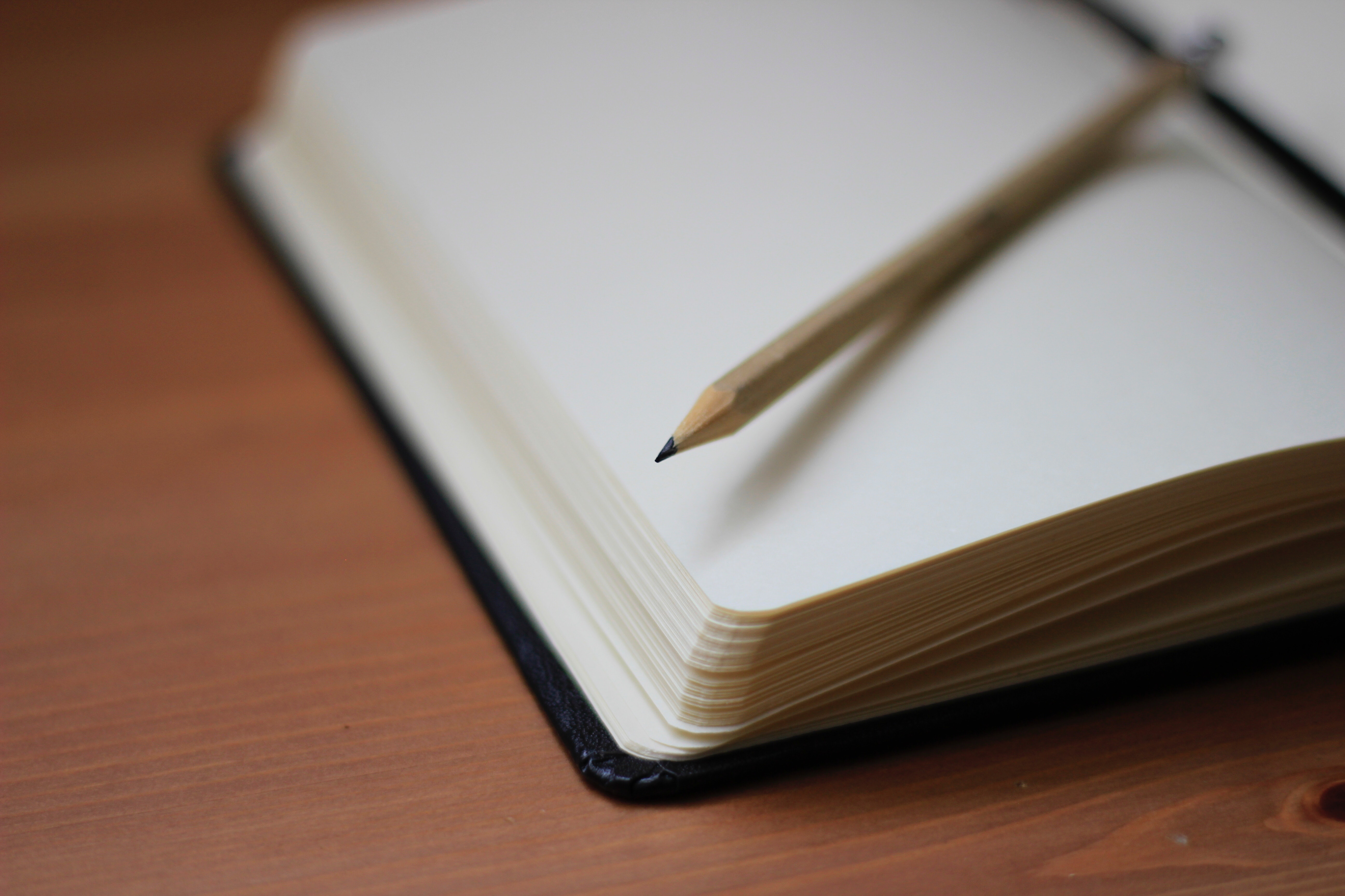 A blank page of an open notebook with a sharpened pencil sitting on top of the page