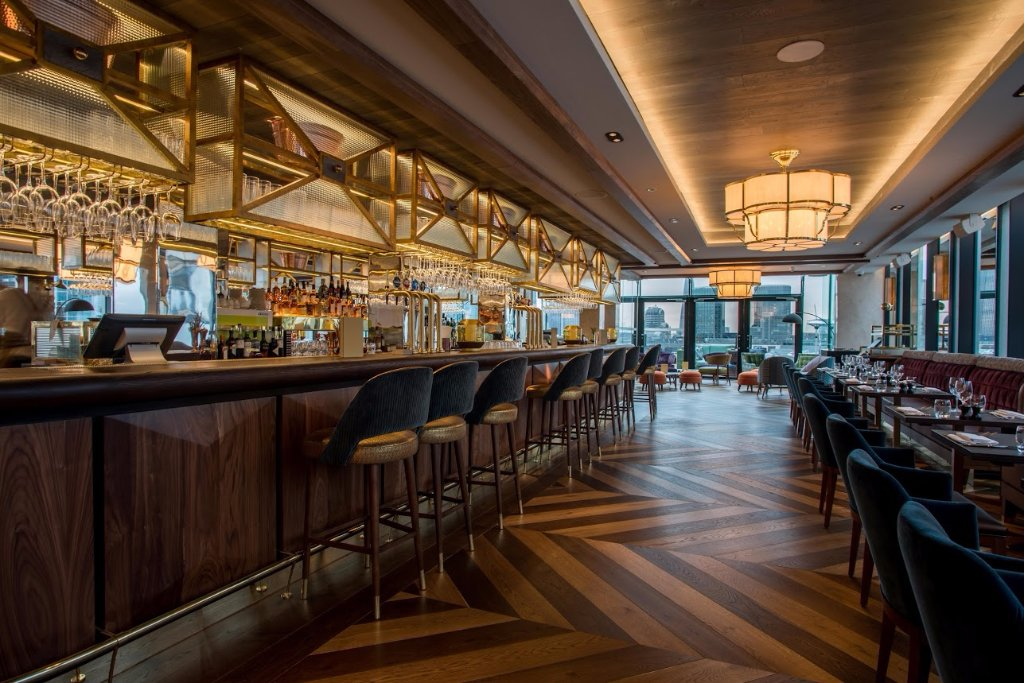The Aviary Bar and Restaurant at the Montcalm Royal London House Hotel in Finsbury Square.