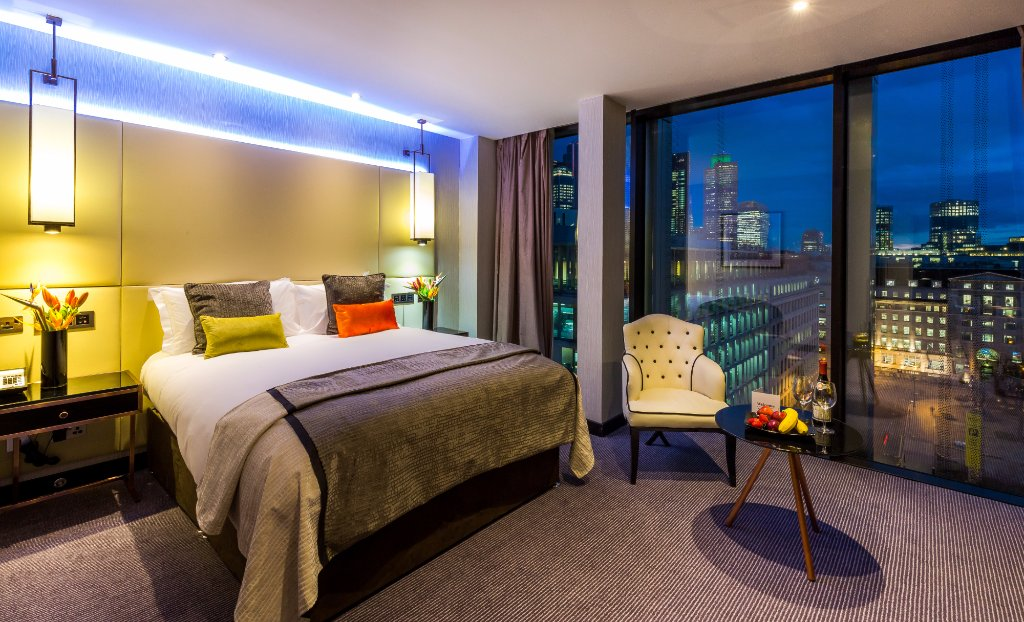 Bedroom view of the Montcalm Royal London House Hotel in Finsbury Square.