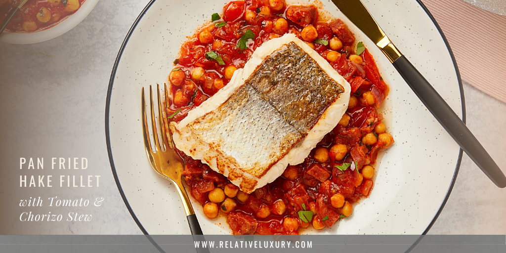 Pan Fried Hake Fillet with Tomato and Chorizo Stew - Recipe Blog Header