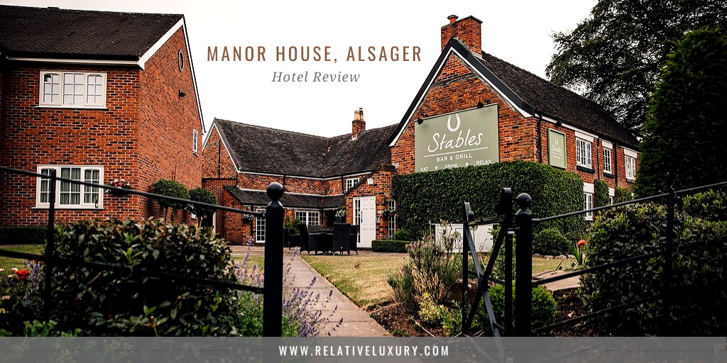 Blog header for the post, 'manor house hotel review, alsager' featuring a hotel and grounds.