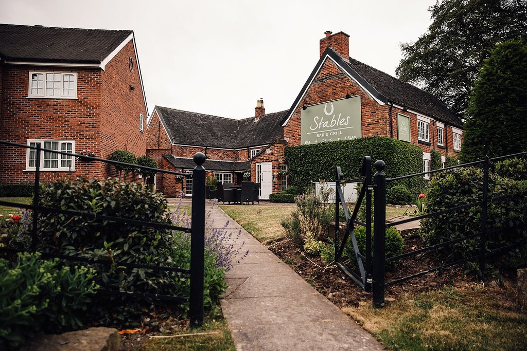 Exterior garden of the Manor House Hotel in Alsager, East Cheshire