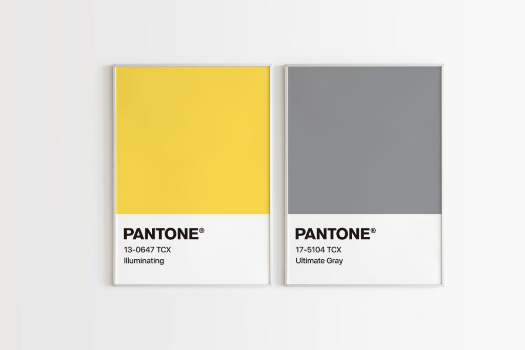Pantone Colour of the Year 2021 - Ultimate Gray and Illuminating Swatches on a grey background.